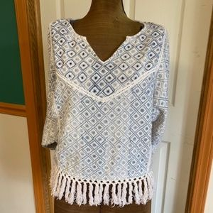 Chelsea & Violet Cotton Top with fringe
